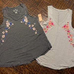 American Eagle Striped Floral Tanks - set of 2